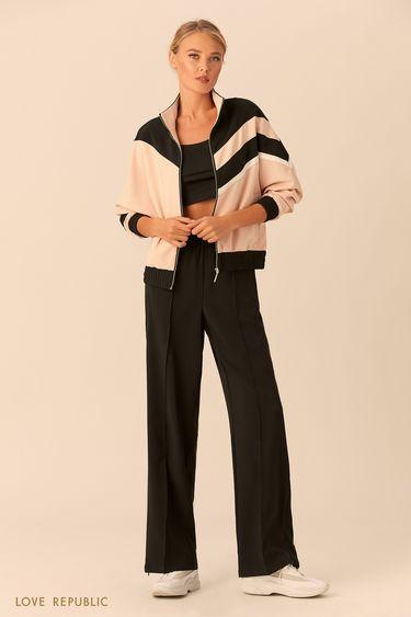 Спортивная куртка на молнии с высоким воротником 018201651