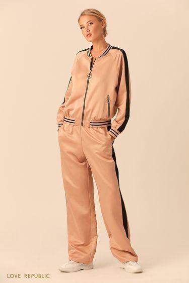 Куртка на молнии из блестящей ткани 018203682