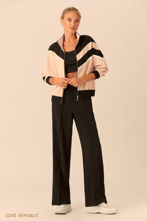 Спортивная куртка на молнии с высоким воротником 018201651-65