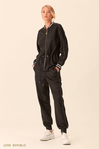 Спортивная куртка чёрного цвета с талией на кулиске 018303684