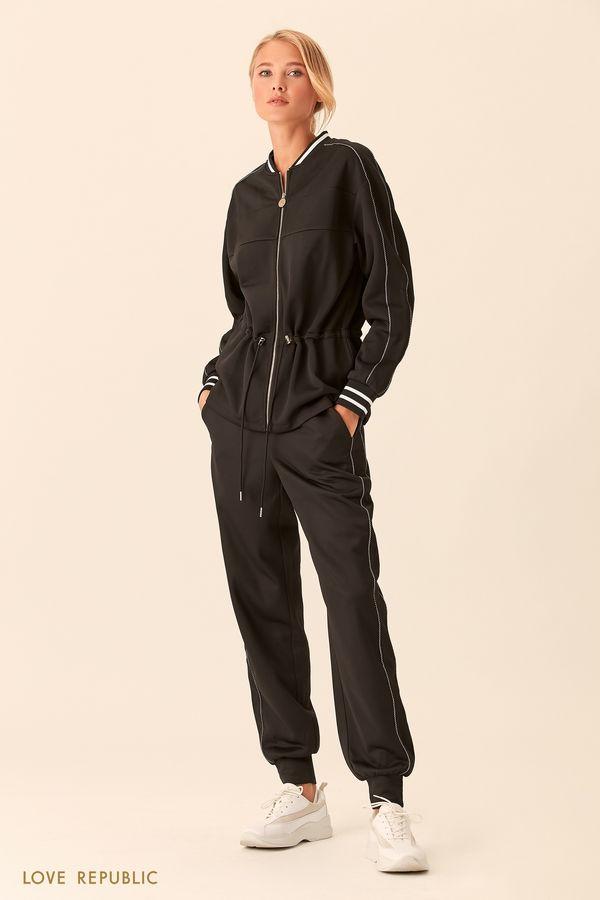Спортивная куртка молочного цвета с талией на кулиске 018303684-60
