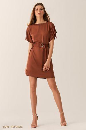 Платье мини с вырезом лодочка и поясом на талии шоколадного цвета фото