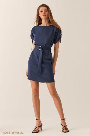 Платье мини с вырезом лодочка и поясом на талии темно-синего цвета Love Republic