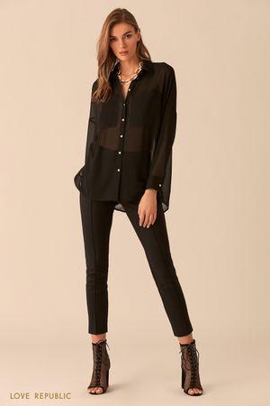 Блузка из чёрной шифоновой ткани фото
