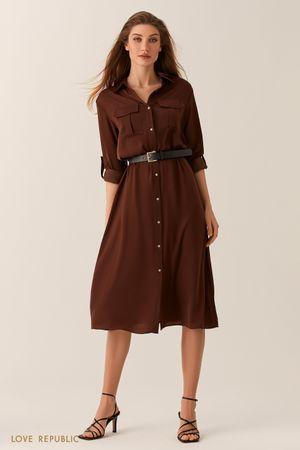 Шоколадное платье-рубашка длины миди фото