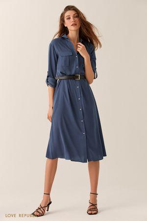 Синее платье-рубашка длины миди фото