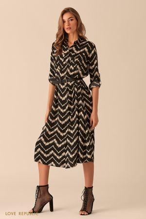 Платье-рубашка длины миди с графическим принтом