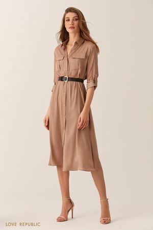 Бежевое платье-рубашка длины миди фото