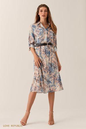 Платье-рубашка длины миди с принтом фото