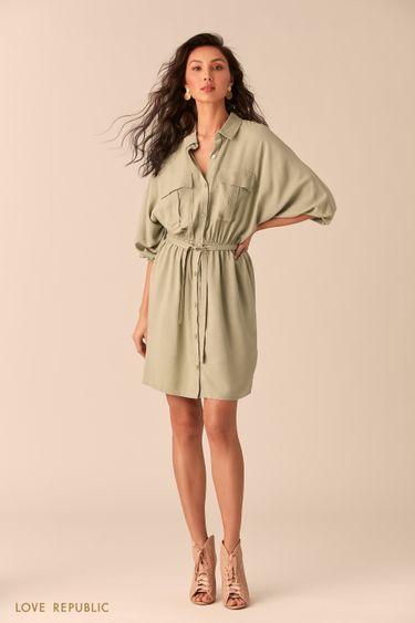 Платье-рубашка зелёного цвета с нагрудными карманами 0254004501