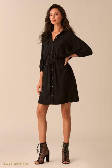 Платье-рубашка чёрного цвета с нагрудными карманами 0254004501