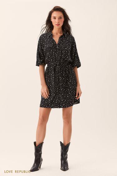 Чёрное платье-рубашка с принтом и нагрудными карманами 0254004501