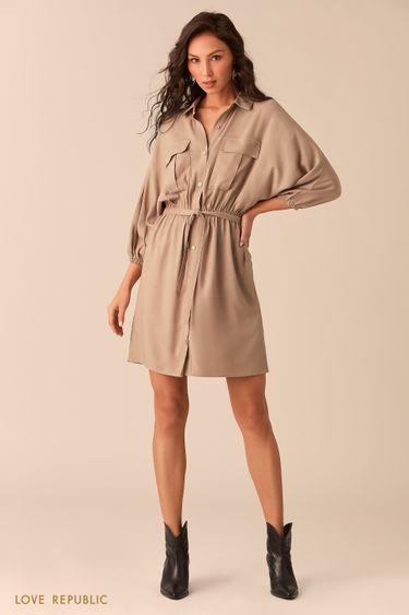 Платье-рубашка цвета капучино с нагрудными карманами 0254004501