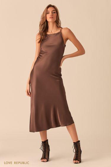 Открытое шоколадное платье из шелковистой ткани 0254005509