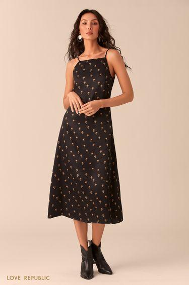 Открытое чёрное платье из шелковистой ткани с принтом 0254005509
