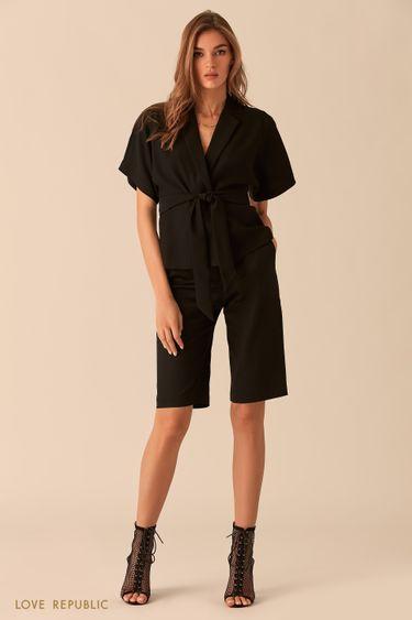 Чёрная блузка с короткими широкими рукавами 0254007304