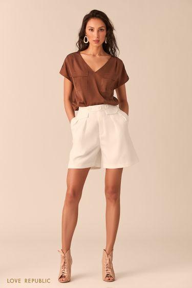Блузка с карманами на груди цвета капучино 0254020335