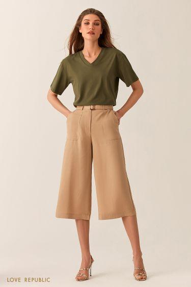Короткие бежевые брюки из тенсела с поясом 02540220734