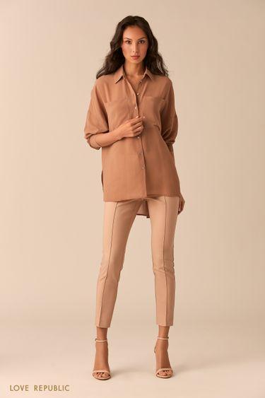 Бежевая блузка с нагрудными карманами 02540270353