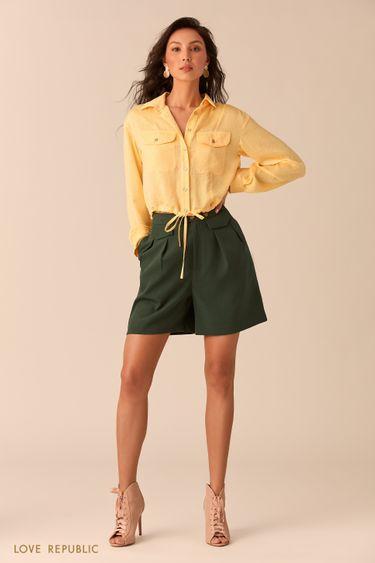 Жёлтая рубашка с накладными нагрудными карманами 0254033338