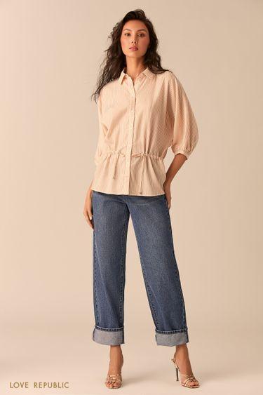 Рубашка оверсайз с бежевым принтом и кулиской 0254040343