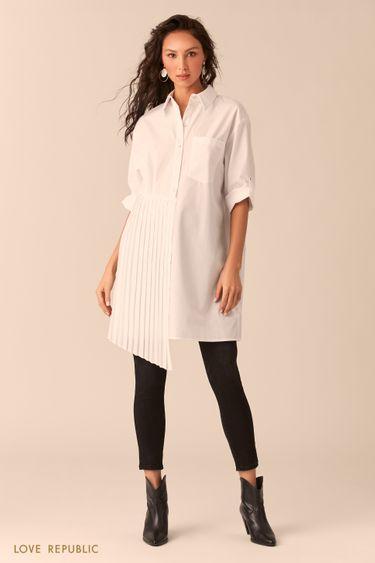 Платье-рубашка с плиссировкой 0254043510