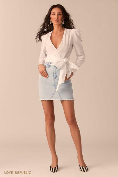 Белая хлопковая блузка с рукавами-фонариками 0254044345