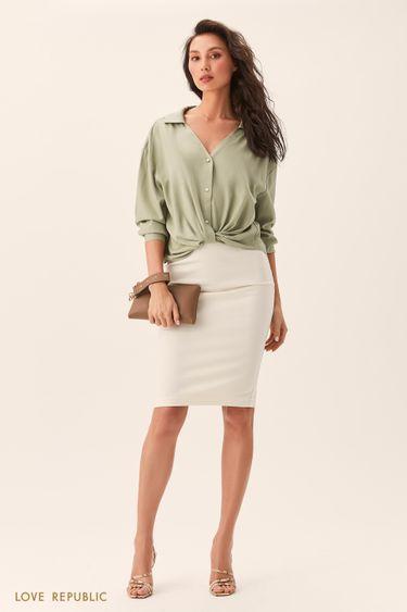 Рубашка оверсайз сузлом наталии светло-зеленого цвета 0254046346