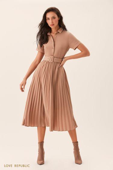 Платье цвета капучино с плиссированной юбкой 0254047531