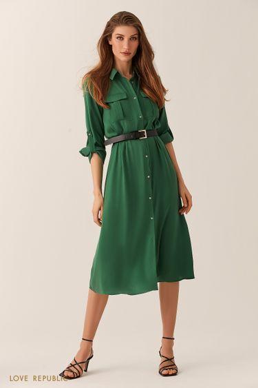 Изумрудное платье-рубашка длины миди 02540480532