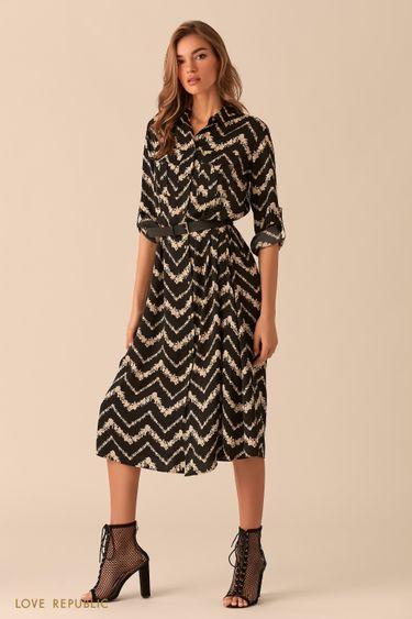 Платье-рубашка длины миди с графическим принтом 0254048532