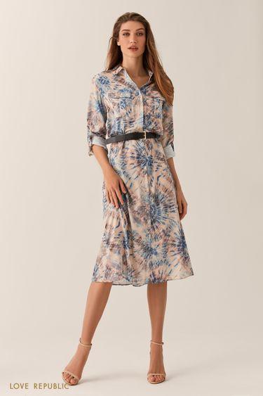 Платье-рубашка длины миди с принтом 0254048532