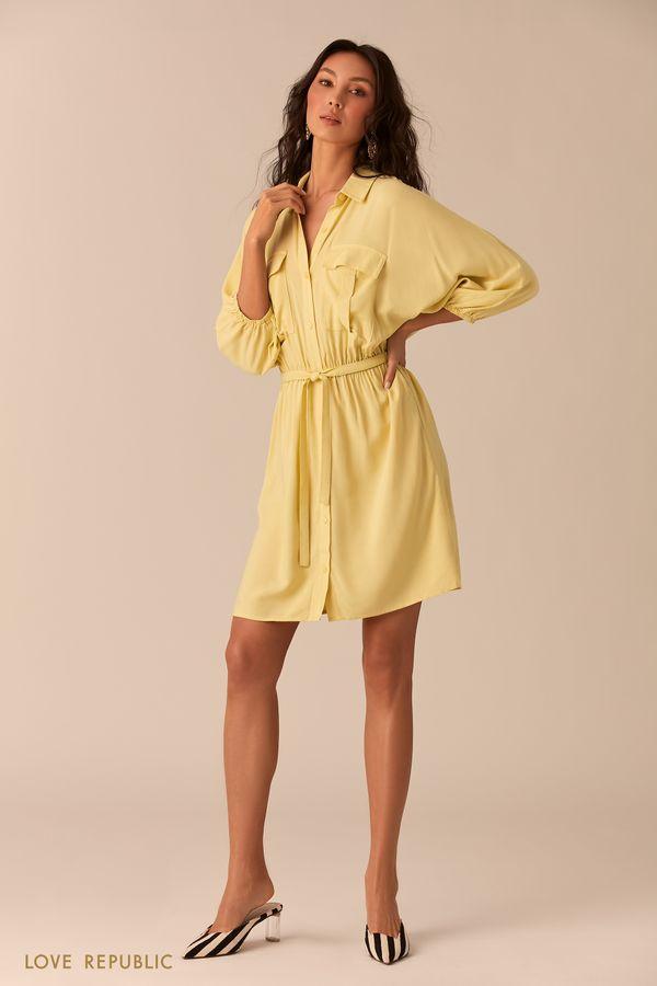 Жёлтое платье-рубашка с накладными карманами 02540040501-9