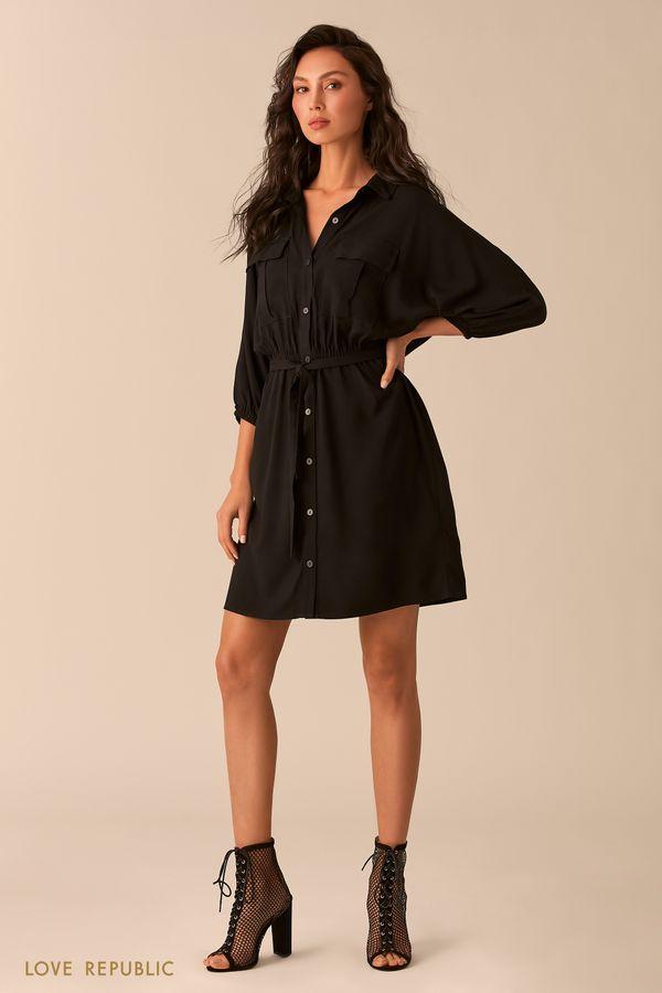Платье-рубашка зелёного цвета с нагрудными карманами 0254004501-12