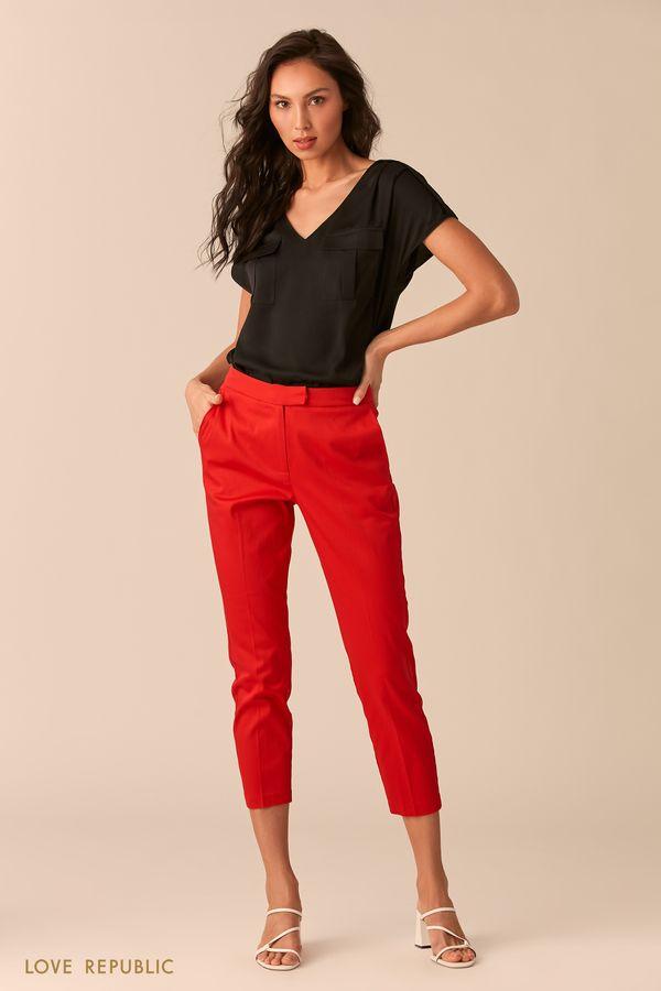Черная блузка с карманами на груди 0254020335-50