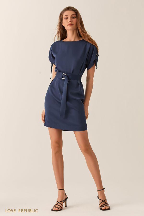 Платье мини с вырезом лодочка и поясом на талии шоколадного цвета 02540260523-22