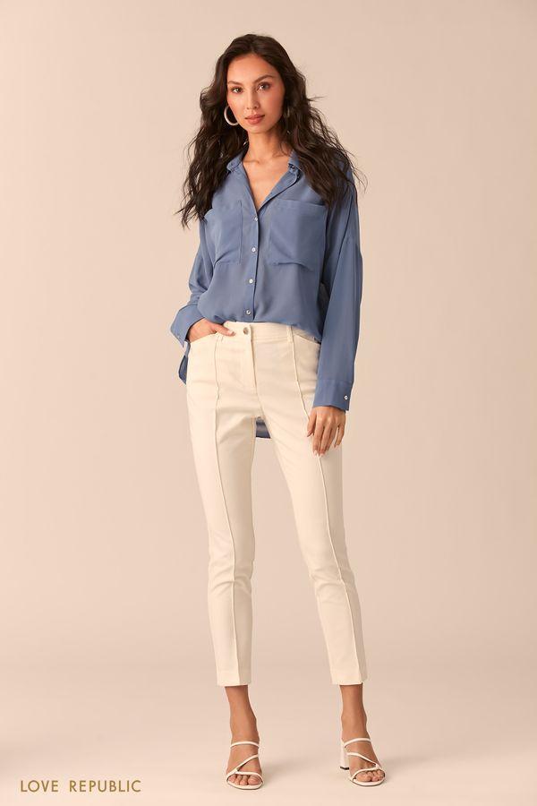 Бежевая блузка с нагрудными карманами 02540270353-62