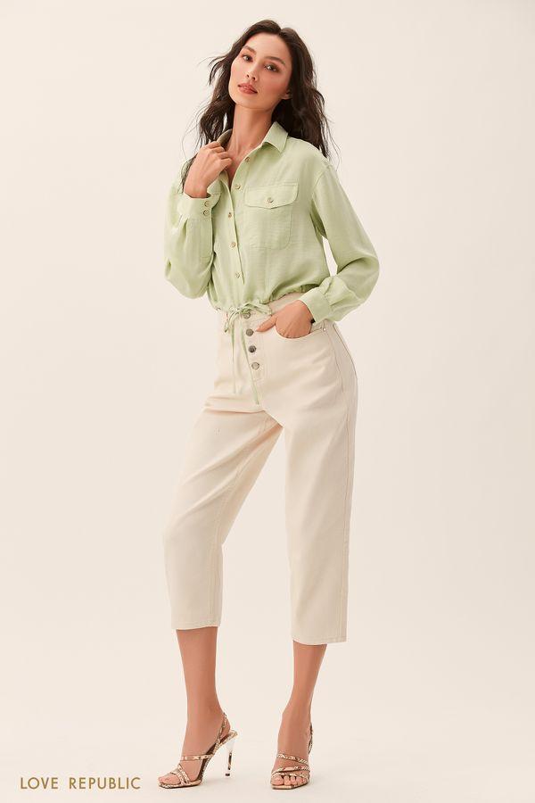 Светло-зелёная рубашка с нагрудными карманами 02540330338-11