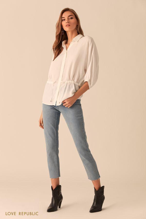 Рубашка оверсайз молочного цвета с кулиской 0254040343-60