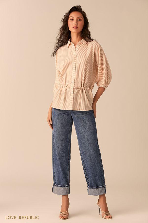Рубашка оверсайз с бежевым принтом и кулиской 0254040343-65