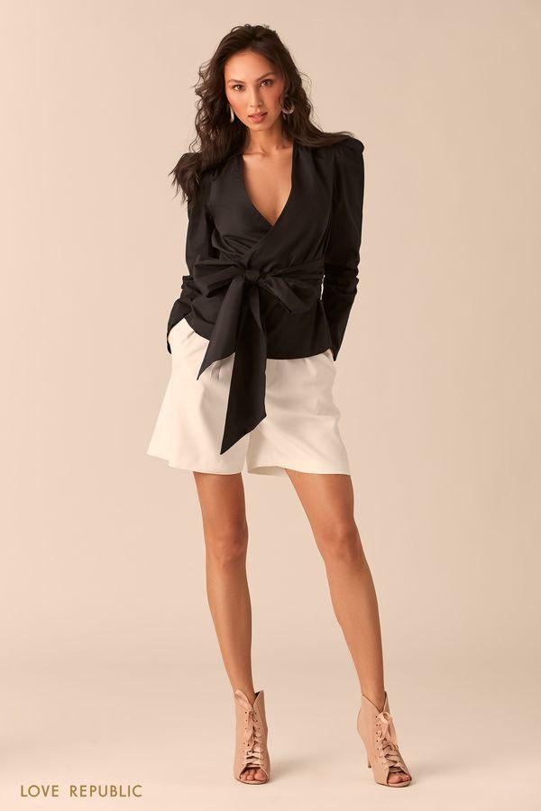 Чёрная хлопковая блузка с рукавами-фонариками 0254044345-50