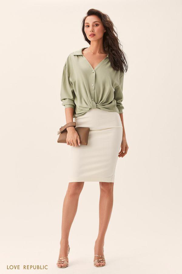 Рубашка оверсайз сузлом наталии светло-зеленого цвета 0254046346-11
