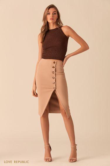 Песочная юбка миди напуговицах с разрезом 0254117221