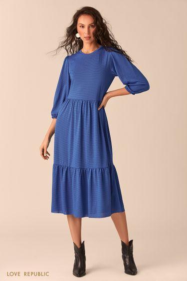 Приталенное синее платье 02541260526
