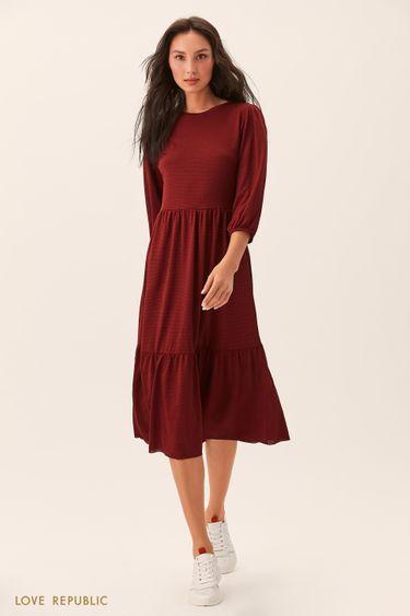 Приталенное бордовое платье 02541260526