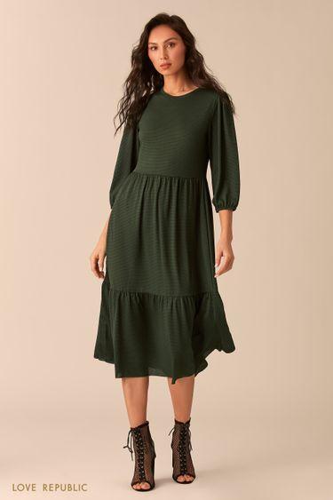Зеленое приталенное платье 0254126526