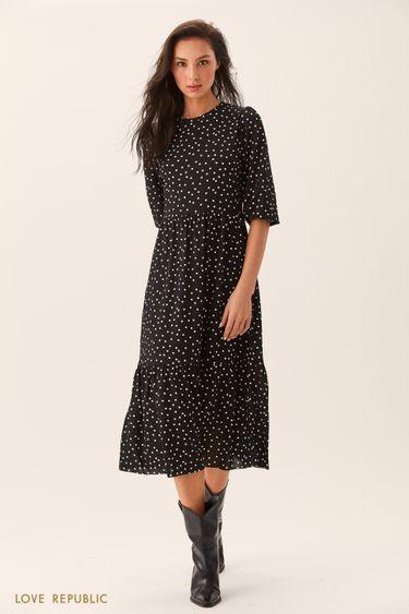 Приталенное чёрное платье с принтом горошек 0254126526