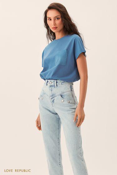 Синяя футболка с нагрудным карманом 02541310350