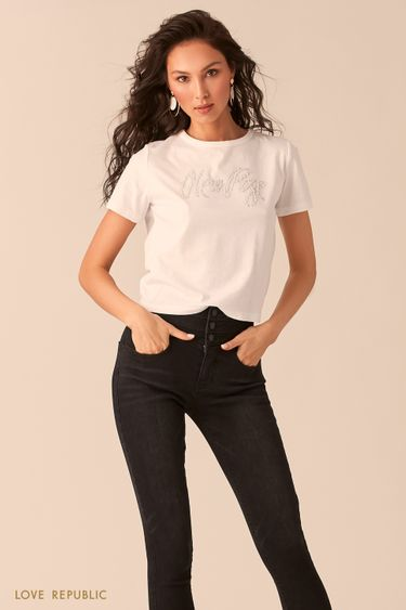 Молочная футболка с узлом на спине 0254133310