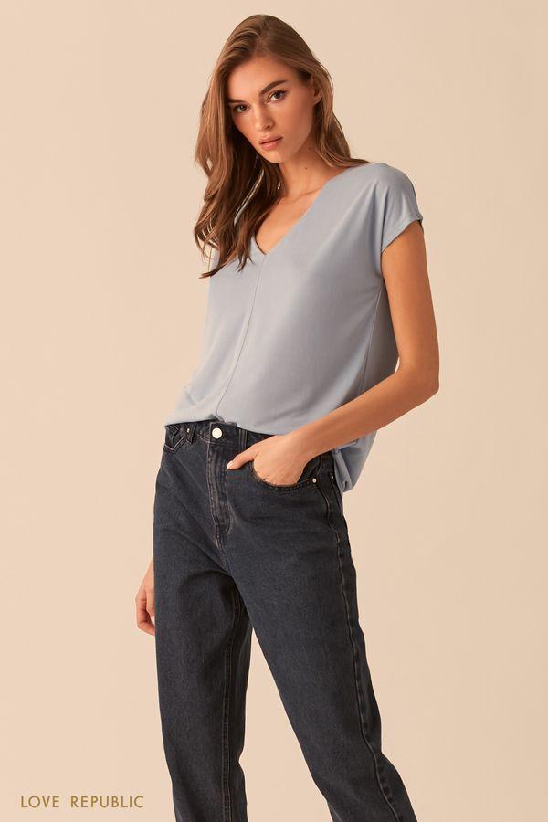 Синяя футболка с вертикальным швом 02541040308-40